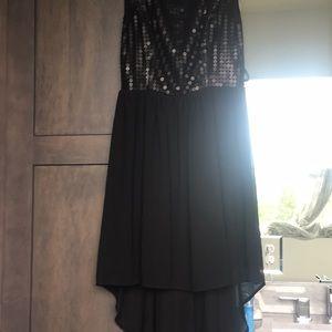 Alya Dresses - Black sequin high low dress
